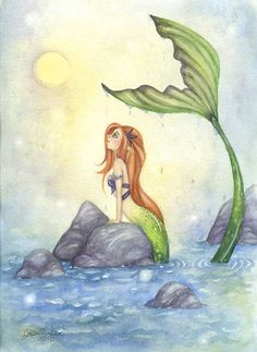 Painting for above the wall decals. Mermaid Art Print  85x11  Mermaid Dreaming  fairy by FaeryDustArt, $20.00