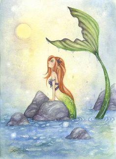 Mermaid Art - 5x7 - Watercolor Fine Art Print - Mermaid Dreaming - fairy tale whimsical beach girl red hair ocean storybook