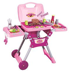Vinsani® Children Kids Pink Light & Sound Barbecue BBQ Garden Outdoor Party Food Cooking Little Chef Pretend Role Play Toy Set Little Girl Toys, Baby Girl Toys, Toys For Girls, Kids Toys, Baby Alive Dolls, Baby Dolls, Grill Set, Zapf Creation, Baby Doll Nursery