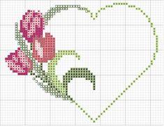free cross-stitch heart with tulips chart . no color chart available, just use free cross-stitch heart with tulips chart . Cross Stitch Heart, Cross Stitch Borders, Cross Stitch Flowers, Cross Stitch Designs, Cross Stitching, Cross Stitch Embroidery, Hand Embroidery, Cross Stitch Patterns, Easy Crochet Patterns