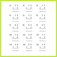 We are here to offer our multiplication worksheets and the grades for which we have design this multiplication worksheet grade 3. If you have a child who is in grade 3 and is finding difficulties in multiplication than you should once try worksheet, the unique thing about our worksheet is that the users will find the solutions on how to mastered multiplication and through our sheets the users will also learn the various tips and tricks on how to solve questions related to it. Worksheet For Class 2, English Worksheets For Kindergarten, 4th Grade Math Worksheets, Printable Math Worksheets, Printables, Two Digit Multiplication, Multiplication And Division Worksheets, Measurement Worksheets, Class 1 Maths