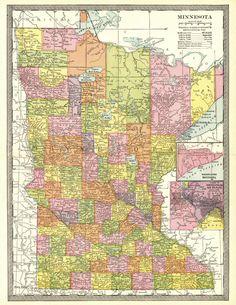 Antique MINNESOTA Map 1915 Original Map of Minnesota Gallery Wall ...
