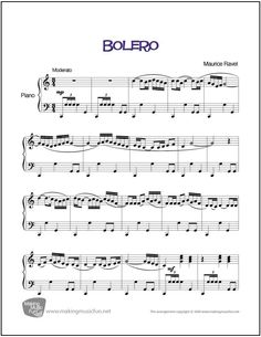 Bolero (Ravel)   Sheet Music for Piano (Digital Print) - http://makingmusicfun.net/htm/f_printit_free_printable_sheet_music/bolero-piano.htm