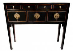 """Oriental Furnishings - Chinese Black Lacquer Lady Chest, $595.00  This elegant Chinese table is from northern, China and is made of reclaimed lumber. We found these Chinese elm wood tables in a small family run Chinese factory hand made by local craftsmen. Rich black lacquer with hints of red color, this cabinet can be used for storage, a small writing desk or a makeup table. Clean and simple lines it measures 37 1/2 x11 x 32"""" inch high. Additional finishes include Antique white in a matt…"""