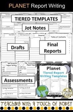"Tiered planet report writing templates to support diverse needs of students! The ""Planet Report Writing"" package contains materials to support your students as they write an planet report. Reading Activities, Reading Skills, Writing Skills, Writing Ideas, Solar System Activities, Biography Project, Informational Writing, Informative Writing, Book Report Templates"