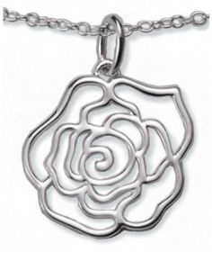 Sterling silver rose necklace.