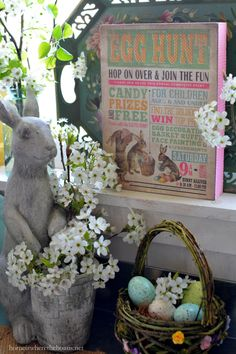 Hopping Down the Bunny Trail and Easter Egg Hunt Table | homeiswheretheboatis.net