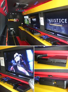 Host the ultimate video game truck party complete with laser tag and water tag for a fun time for all ages. Gaming Lounge, Gaming Room Setup, Game Truck Party, Party Games, Party Bus, Lan House, Geek House, Game Room Decor, Game Rooms