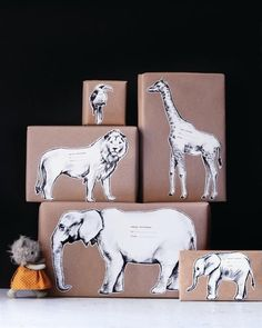 Wrapping Gift Idea, Animal Wrapping Paper, Craft Wrapping Paer via Sweet Paul - Winter 2013 - Page 77 Wrapping Gift, Creative Gift Wrapping, Wrapping Ideas, Creative Gifts, Paper Wrapping, Free Printable Gift Tags, Free Printables, Pretty Packaging, Gift Packaging