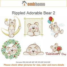 Rippled Adorable Bear 2 Machine Embroidery Designs Pack by embhome