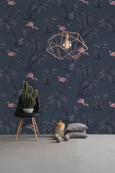 A flamingo wallpaper print in midnight blue from the Imaginarium Wallpaper Collection. Go Wallpaper UK stock a wide range of Holden Decor wallpaper. Tree Wallpaper Bedroom, Wallpaper Uk, Kitchen Wallpaper, Designer Wallpaper, Pattern Wallpaper, Wall Paper Bedroom, Albany Wallpaper, Wallpaper Designs, Flamingo Wallpaper
