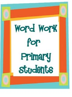 $5 Nine activities for word wall words and spelling words. Activities may used as a literacy center, in a small group lesson, or a whole group lesson.