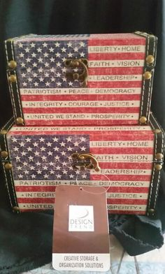 Up For Sale Is This Set Of Two American Flag Storage Boxes. This Is A