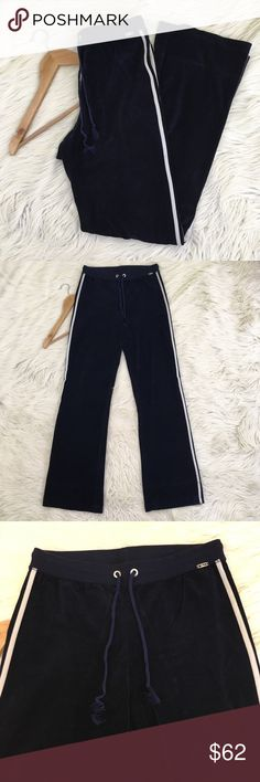 """🎉SOLD St. John Sport Navy Blue Velour Track Pants St. John Sport Womens Small Velour Track Pants • Navy Blue • Drawstring waist • 2 white stripes down legs • excellent condition no flaws  Waist flat: 14.5"""" stretchy + drawstring Inseam: 33"""" Rise:  11""""  📌NO lowball offers 📌NO modeling 📌NO trades  Come check out the rest of my closet! I have various brands and ALL different sizes ❤️  Tags for discovery: Talbots lands End L.L. Bean LL bean Patagonia J. Crew Tory Burch St. John Neiman Marcus…"""