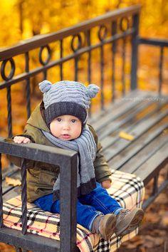 Joyful autumn baby