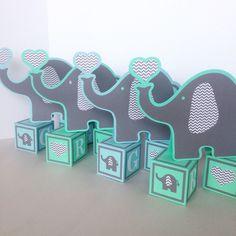 Baby Blue Elephants And Mint And Grey Elephants On Blocks, Baby Shower  Decorations, Elephant