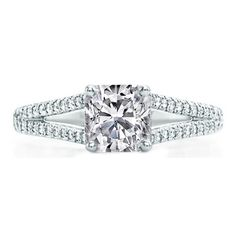 Cushion Diamond Engagement Ring Trellis Curved  Pave Split Band 0.48 tcw. In 14K White Gold