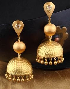 Gold splendour jhumki - Delicate gold texture work on 18k gold forms the highlight of this jhumki with diamond accents.