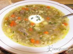 Rassolnik (Russian: рассольник) is a traditional Russian soup made from pickled cucumbers, pearl barley, and pork or beef kidneys. A vegetarian variant of rassolnik also exists. The dish is known to have existed as far back as the 15th century, when it was called kalya.