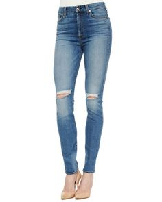 High-Waist+Skinny+Jeans,+Sloan+Heritage+Medium+by+7+For+All+Mankind+at+Neiman+Marcus.