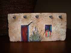 A 100 year old fire brick transformed into a by SunflowerArtist Painted Bricks Crafts, Brick Crafts, Painted Pavers, Stone Crafts, Hand Painted Rocks, Painted Stones, Stone Painting, Rock Painting, Diy Painting