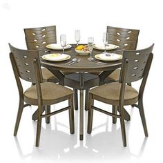 RoyalOak Sydney Dining Set With Four Chairs Solid Wood   Round