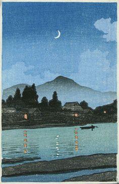 hanga gallery . . . torii gallery: Moonlit village along river by Kawase Hasui