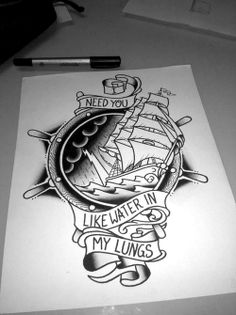 Old school sailor/memorial tattoo design.
