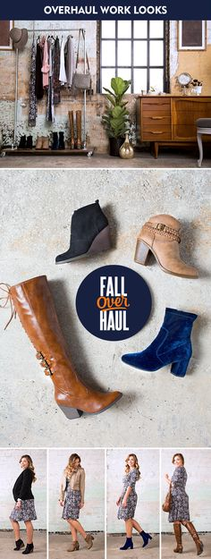 Overhaul your fall work look with a midi dress and on-trend boots! Wear David Aaron�s �Gibson� black wedge-heel booties with a blazer for put-together comfort, or feel confident in a suede jacket and No Parking�s �Enid� heeled booties.  Rock Nicole�s �Carina� blue velvet booties with simple jewelry for a little edge or feel cool in Coconuts� lace-up brown �Tigress� boots and a brown leather bag.