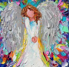 Original oil painting Sweet Angel 6x6 palette by Karensfineart
