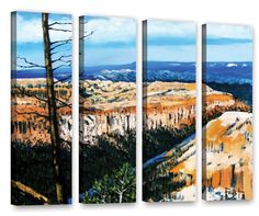Mountain Tops Sky by Gene Foust 4 Piece Painting Print on Wrapped Canvas Set
