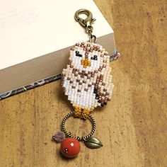 bead weaving owl charm