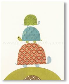 Illustration pour chambre d'enfant fille et garcon décoration Tortues : Chambre d'enfant, de bébé par galerie-anais
