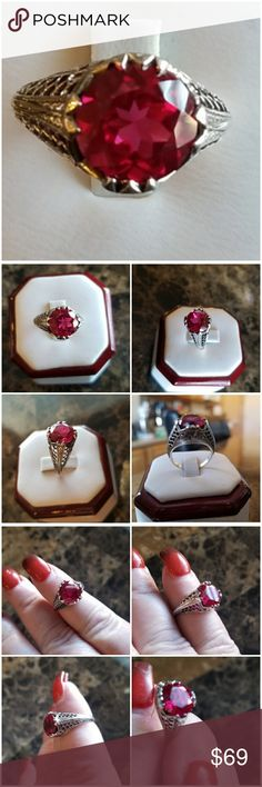 Genuine 2ct Edwardian style Natural Ruby Ring Sz 6 Beautiful! Set in 925 stamped Solid Sterling Silver. Please see all pictures for more detail and measurement. Brand New. Never Worn. WHOLESALE Prices Always! Jewelry Rings