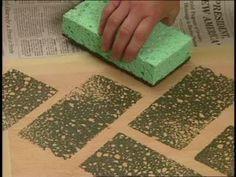 Sponge Painted floor - Herring Bone and Stained Diamond Floor Designs. Painting Concrete, Stained Concrete, Concrete Patio, Pavers Patio, Patio Stone, Patio Plants, Backyard Patio, Painted Deck Floors, Painted Bricks