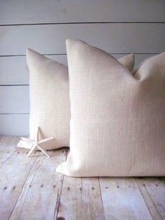Burlap Pillow /  Ivory Burlap Pillow / 18 x18 by HomesteadBurlaps, $16.00
