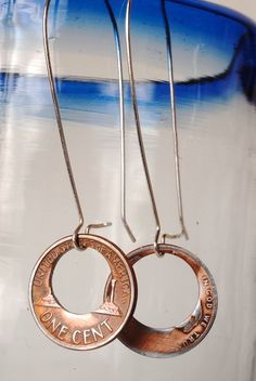 2 Cent Penny Doughnut Earrings by ampandolph on Etsy #long #dangle #handmade #copper #silver #jewelry #earrings #coin #penny www.AmplifiedArts.us
