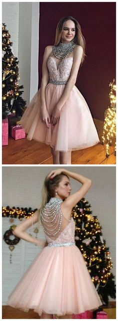 Chic Sexy Homecoming Dress Pearl Pink Appliques Short Prom Dress Party Dress JK368