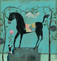 Horse Admirer by Olaf Hajek.  Olaf is a German-based illustrator, painter, artist, graphic designer and author. He uses folk culture, mythology, religion, history and geography to explore the opposition between imagination and reality within our culture. | Equestrian, horse, pony, art, artwork