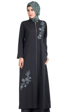 East Essence Tunic Dress  -  at PlusSizeDesi.com #psdesi #plussize #plussizedesi #desiclothing #psd Kaftan Style, Modest Wear, Embroidered Tunic, Cotton Tunics, Cotton Twill Fabric, Clothes, Zipper, Dresses, Contemporary Style