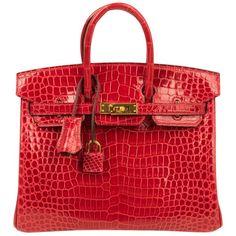 549d30c5f7 Hermes Birkin 25 Bag Braise Porosus Crocodile Gold Hardware Lipstick Red