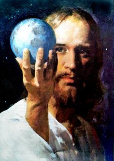 In the beginning God created the heavens and the earth....Genesis 1:1 The Whole World in His Hand - Harry Anderson