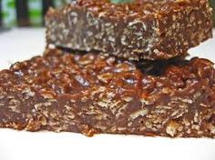"They call it a ""Chocolate Granola Bar"" but lets face it.it's candy, its delicious and tastes like an Eatmore Bar and there is nothing healthy about it Just Desserts, Delicious Desserts, Yummy Food, Healthy Desserts, Yummy Treats, Sweet Treats, Chocolate Granola, Chocolate Bars, Chocolate Chips"