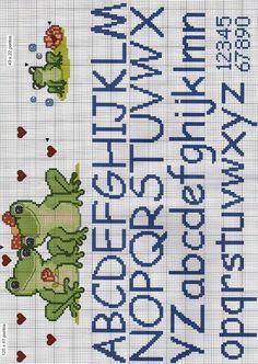 Cross Stitch Letters, Cross Stitch For Kids, Cross Stitch Baby, Loom Patterns, Stitch Patterns, Alfabeto Disney, Paper Towel Roll Crafts, Cross Stitch Pattern Maker, Frog Crafts