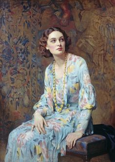 """Portrait of a Lady [Wearing a Pearl Necklace]"" -- by Albert Henry Collings R.B.A, (1868-1947)"