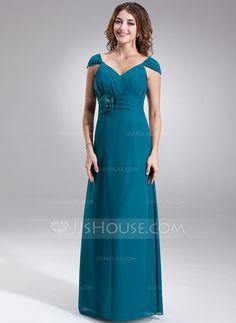 Bridesmaid Dresses - $109.99 - A-Line/Princess V-neck Floor-Length Chiffon Bridesmaid Dress With Ruffle Beading Flower(s) (007004147) http://jjshouse.com/A-Line-Princess-V-Neck-Floor-Length-Chiffon-Bridesmaid-Dress-With-Ruffle-Beading-Flower-S-007004147-g4147