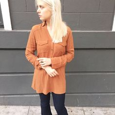 Tan 70s inspired blouse Get your grove on gurrrl!!  Gold button details and a semi bell sleeve! Tops Tunics