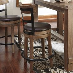 The Pinnadel contemporary barstool in a brown finish will add a touch of rustic to just about any home.