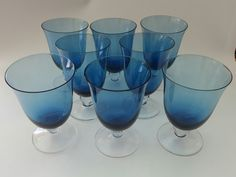 Blue Tulip-Shaped Stemware, Clear Stem- Set of 8 by PreteritHome on Etsy