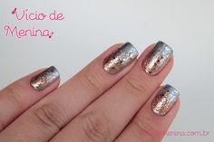 Nail Art Ombré prata e dourado com glitter